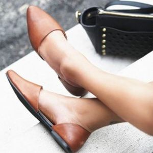 Free People Tan Leather D'Orsay Flats in Cognac